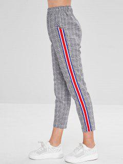 Plaid Elastic Waist Ribbon Splicing Pants - Multi M