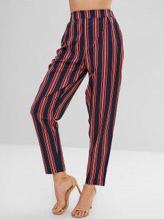 Elastic Waist Striped Loose Fitting Pants - Multi S