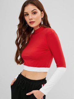 Long Sleeves Mock Neck Crop Tee - Red M