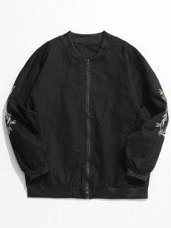 Casual Embroidery Bomber Jacket - Black Xl