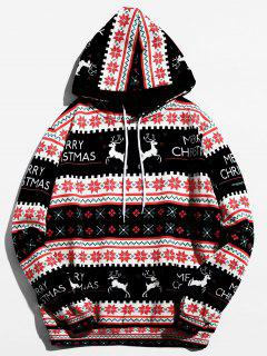Christmas Geometry Pattern Pullover Hoodie - Black L