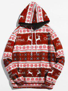 Christmas Geometry Pattern Pullover Hoodie - Red Wine Xl