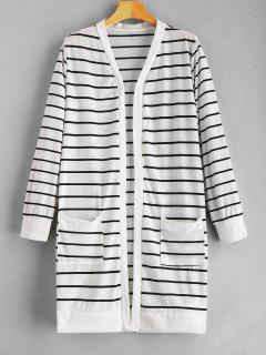 Open Front Striped Pockets Coat - White M