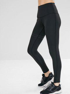 Elastic High Waist Solid Color Leggings - Black M