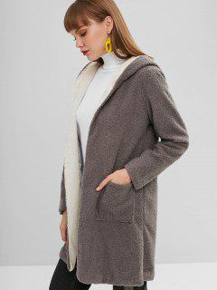 Faux Fur Open Longline Winter Coat - Gray M