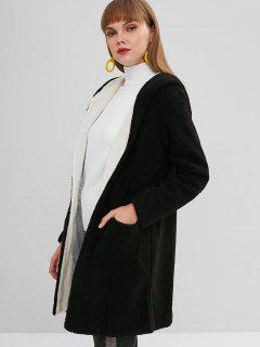 Faux Fur Open Longline Winter Coat - Black M