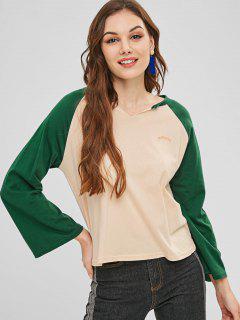 Camiseta Con Cuello Redondo Y Gráfico De La Letra - Verde De Tortuga Marina