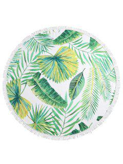 Leaf Fringed Round Beach Towel - Multi-a
