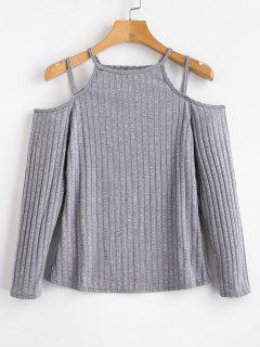 Cold Shoulder Long Sleeves Tee - Gray M