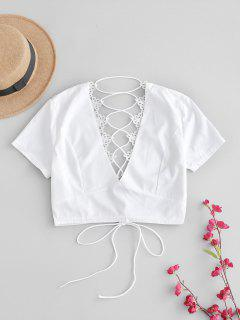 Back Lace Up Plunge Tee - White M