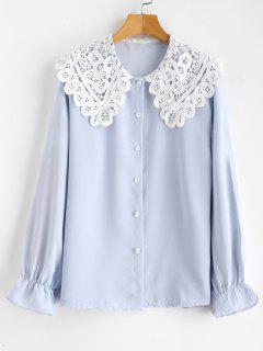 Blusa De Cuello De Encaje - Azul Claro Xl