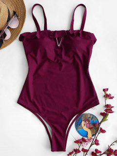 ZAFUL High Waisted Ruffled Swimsuit - Plum Purple M