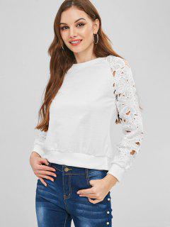 Raglan Sleeve Lace Panel Sweatshirt - White M