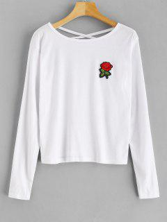 Long Sleeve Cross Back Tee - White Xl