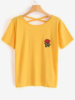 Floral Applique Cross Back Tee - Bright Yellow S