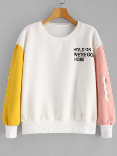 Color Block Pullover Fleece Lined Sweatshirt - White S