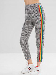 Plaid Ribbon Insert Elastic Waist Pants - Black L