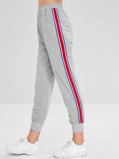 Ribbon Insert Elastic Waist Jogger Pants - Light Gray L