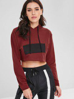 Patch Design Cropped Hoodie - Red Wine S