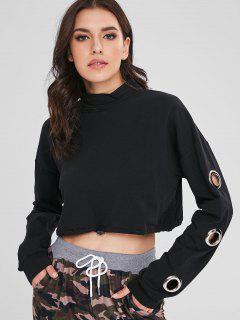 Mock Neck Eyelet Cropped Sweatshirt - Black L