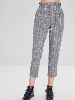 Pantalon Boutonné Carreaux à Grille à Taille Haute - Multi L