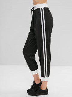 High Waist Ribbon Splicing Sports Pants - Black S