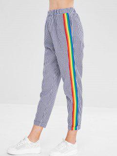 Pantalones De Cintura Elástica De Inserción De Cinta De Tela Escocesa - Azul M