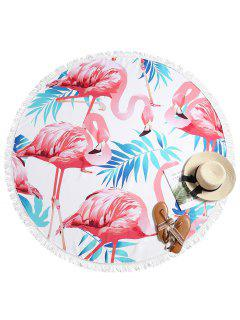 Flamingo Print Fringed Beach Towel - Multi-a