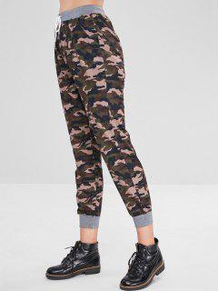 High Elastic Waist Camouflage Pants - Multi M