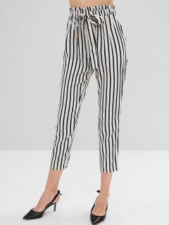 High Elastic Waist Striped Self Tie Pants - White L