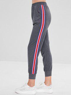 Pantalones Basculador De Cintura Elástica Con Inserción De Cinta - Gris De Acorazado M