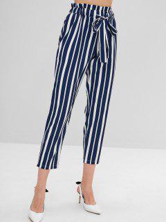 High Elastic Waist Striped Self Tie Pants - Blue L