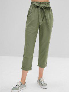 Pantalones De Cintura Alta Con Lazo El Uno Mismo - Verde Xl