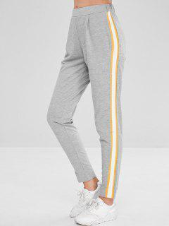 High Elastic Waist Solid Color Jogger Pants - Gray Goose L