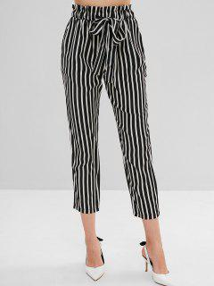 High Elastic Waist Striped Self Tie Pants - Black M