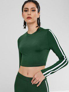 Contrast Sports Crop Tee - Deep Green M