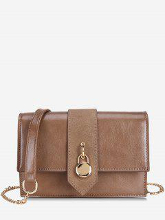 Small Lock Printed PU Crossbody Bag - Khaki