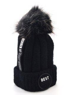 Stylish Flanging Knitted Pom Pom Knit Cap - Black