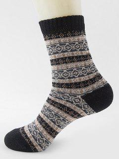 Ethnic Pattern Thick Crew Socks - Black