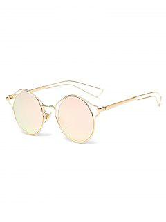 Metal Frame Hollow Out Round Sunglasses - Pink