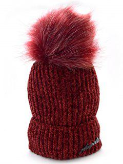 Solid Color Fuzzy Ball Knit Cap - Red Wine