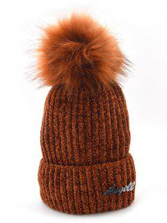 Solid Color Fuzzy Ball Knit Cap - Coffee