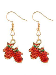 Christmas Gloves Hook Design Earrings - Gold