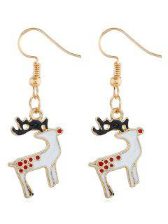 Alloy Reindeer Design Drop Earrings - Gold