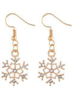 Snowflake Shape Rhinestone Inlaid Earrings - Gold