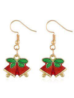 Christmas Leaves Bells Printed Hook Earrings - Gold