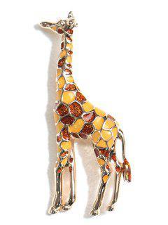 Statement Giraffe Printed Metal Brooch - Camel Brown