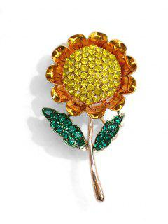 Artificial Crystal Sunflower Brooch - Gold