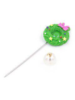 Star Bow Garland Christmas Brooch Pin - Green