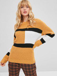 Pull Color Block Stripes Pull - Jaune D'abeille